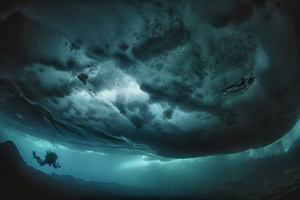 Plongeur sous glace Lac Sassolo, Tessin, Suisse